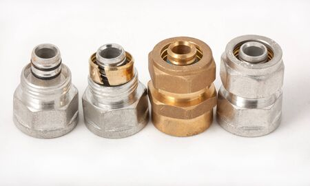adapters: Water adapters from iron on plastic close up Stock Photo