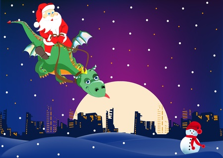 reins: Santa Claus is flying on a green dragon on the town Illustration