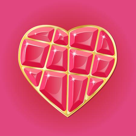 coeur diamant: Beauty diamond heart on red beckground. vector illustration
