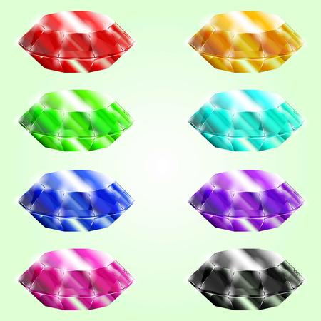 Set of different crystals,gemstones,diamonds. Isolated vector elements. Gui elements, vector games assets. menu for mobile games. illustration Illustration