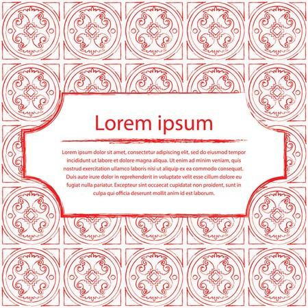 Venetian red tiles ornament post card. Vector illustration. Illustration