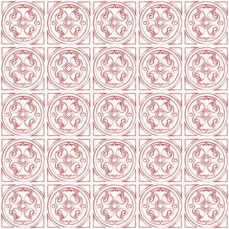 Abstract doodle hand drawn pattern. Vector seamless red and white background.