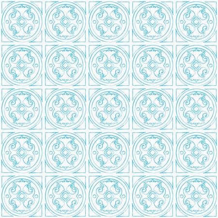 tangier: Vector seamless hand draw venetian background. Sky blue pattern on white background Illustration