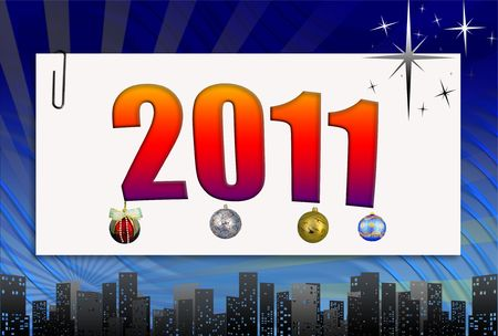 2011 in a colourful framework on a bright background photo