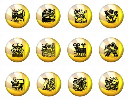 chinese astrology: Buttons Astrology Chinese Zodiac - Whole Set