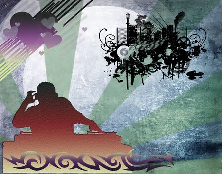 illustration of an dj man playing tunes with music  illustration