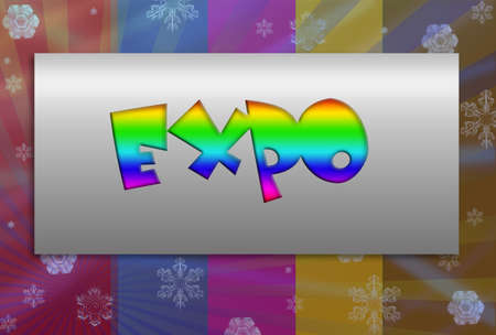 expo: expo in frame colorful background With drawing elements Stock Photo