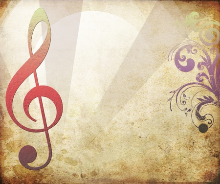 Musical key background in retro photo
