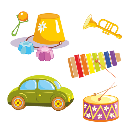 Toys. Toy car, bucket, rattle, glockenspiel, trumpet and drum