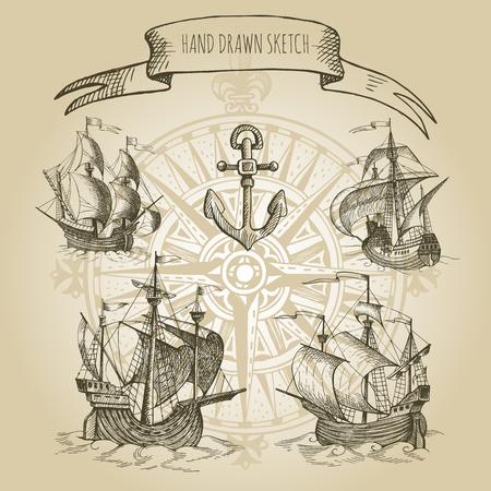 caravelle: Old caravelle, voilier vintage. Hand drawn vector croquis. Détail des anciennes cartes géographiques de la mer