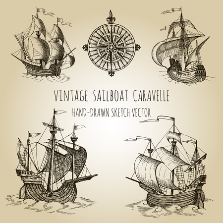 caravelle: Old caravel, vintage sailboat. Hand drawn vector sketch. Detail of the old geographical maps of sea