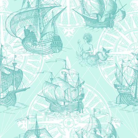 caravelle: Old caravelle, voilier vintage, monstre marin. Monochrome Hand drawn esquisse. Vector seamless pattern pour le garçon. Détail des anciennes cartes géographiques de la mer.