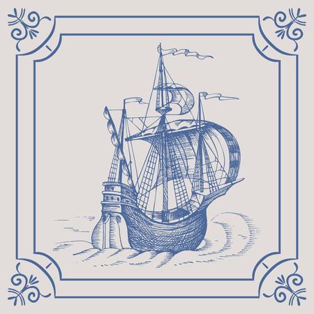 caravelle: Old caravel. Ship on the Blue Dutch tile, frigate, vintage sailboat, Sailing vessel , glazed porcelain ceramic.