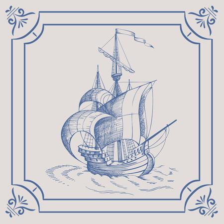 caravelle: Old caravelle. Bateau sur le carreau bleu néerlandais, frégate, voilier vintage, bateau à voile, de la céramique de porcelaine émaillée.