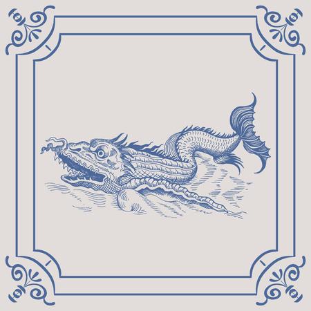 mythological: Mythological vintage sea monster on the Blue Dutch tile. Imitation. Glazed porcelain ceramic. Illustration