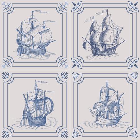 caravelle: Old caravel. Ship on the Blue Dutch tile. Imitation. Frigate, vintage sailboat, Sailing vessel , glazed porcelain ceramic.