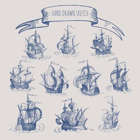 vintage: Old caravel, vintage sailboat. Hand drawn vector sketch. Illustration