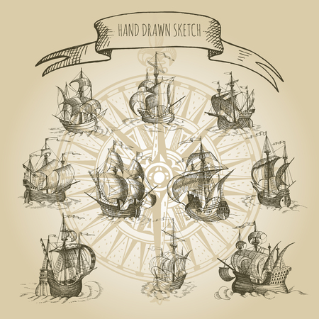 caravelle: Old caravel, vintage sailboat. Hand drawn vector sketch. Illustration