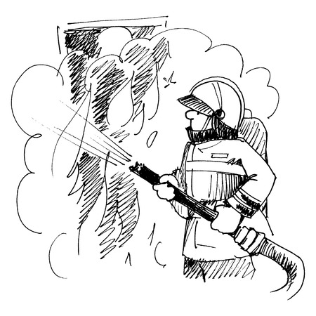 Firefighter. The man in the form. Fighting fire. Illustration
