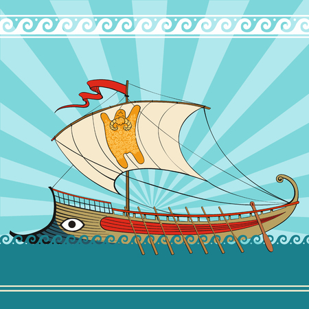 argonaut: Greek galley, the Argonauts, the Golden Fleece. Beautiful background with ancient ship, mythology and legends.
