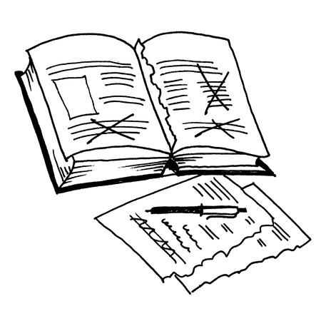 corrections: Corrections, proofreading, editing, pen, correction. Drawing by hand