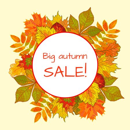 Colorful autumn background with falling leaves. Round stickers, big sale.