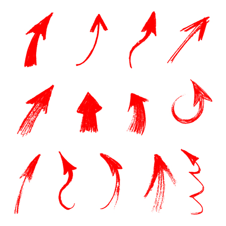 Bright Red watercolor crayon hand drawn decorative arrows. Hatching colored pencil. Arrows drawn in red pencil