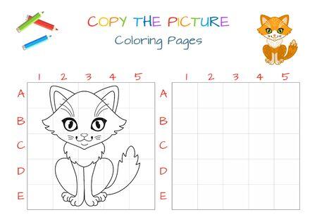Funny little cat. Copy the picture. Coloring book. Educational game for children. Cartoon vector illustration