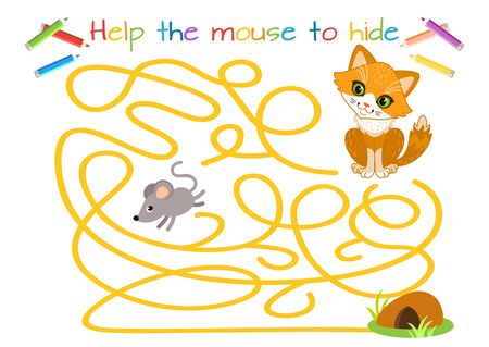 Help the little mouse escape from the cat. Labyrinth. Maze game for kids. Educational game for children. Cartoon vector illustration