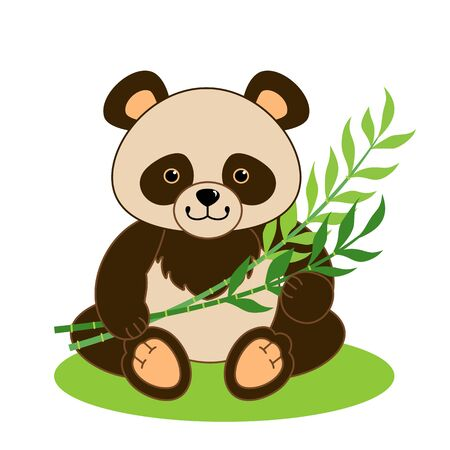 Cute little Panda. Cartoon vector illustration