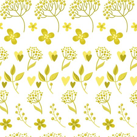 Vector seamless pattern. Golden botanical ethnic painting for design of printed products, backgrounds. Imitation of drawing with golden felt-tip pen. Artistic handmade batik print, floral oriental textile, fabric.