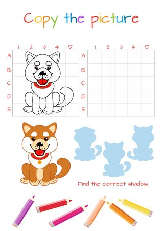 Funny little dog. Copy the picture. Coloring book. Educational game for children. Cartoon vector illustration