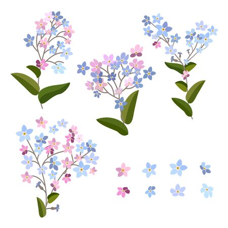 Forget-me-not flowers. Bouquet spring blue flowers  イラスト・ベクター素材