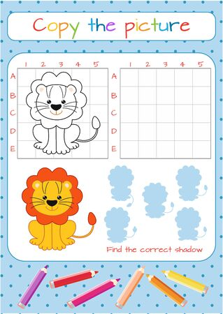 Funny little lion cub. Copy the picture. Coloring book. Educational game for children. Cartoon vector illustration Illustration