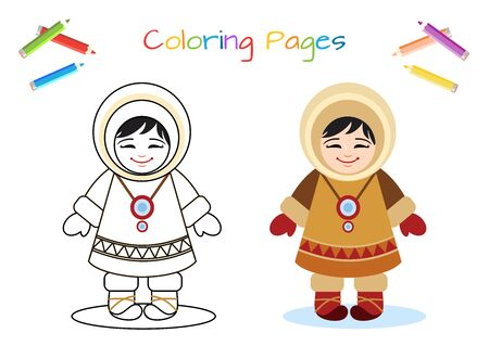 Funny little Eskimo, national ethnic clothing. Copy the picture. Coloring book. Educational game for children. Cartoon vector illustration