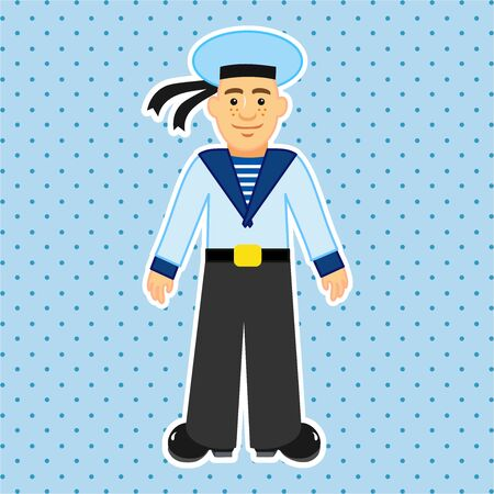 Sailor in Russian naval military uniform. Educational game for children. Cartoon vector illustration