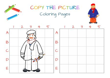 Funny artist painting. Educational game for children. Copy the picture. Coloring book. Cartoon vector illustration