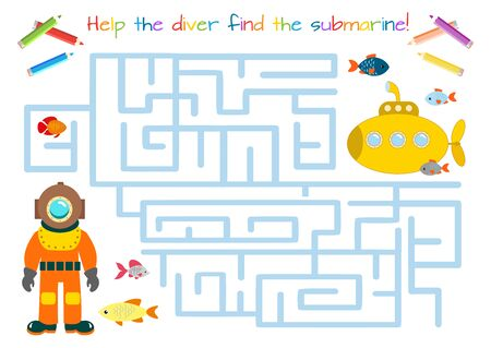 Funny diver. Educational game for children. Labyrinth, maze. Coloring book. Cartoon vector illustration Vektorgrafik