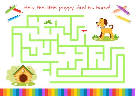 Help the little puppy find doghouse. Educational game for children. Cartoon vector illustration