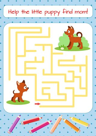 Help the little puppy find mom. Educational game for children. Cartoon vector illustration