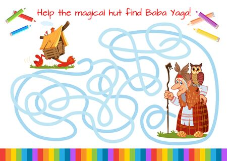 Funny old witch with a staff and an owl. Illustration for a fairy tale. Fairy hut on chicken legs. Help the magical hut find Baba Yaga. Educational game for children. Cartoon vector illustration. Maze.