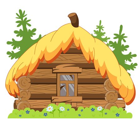 Traditional russian wooden house. Very dilapidated hut.
