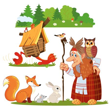 Character of Russian folk tale Baba Yaga. Funny old witch with a staff and an owl. Illustration for a fairy tale. Fairy hut on chicken legs. Hare, mouse, fox.