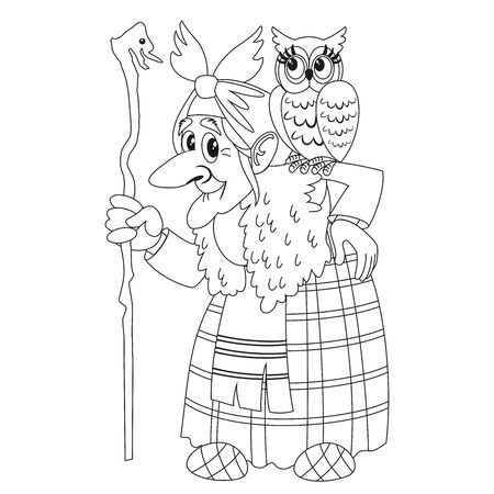 Character of Russian folk tale Baba Yaga. Funny old witch with a staff and an owl. Coloring book