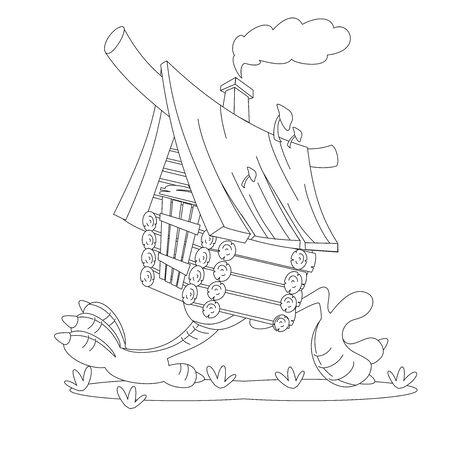 Fairy hut on chicken legs. Coloring book Stock Illustratie