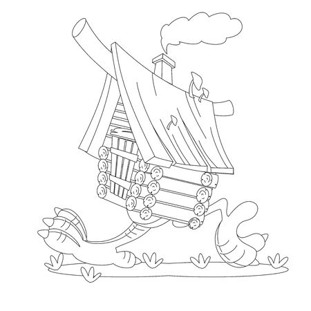 Fairy hut on chicken legs. Coloring book Illustration