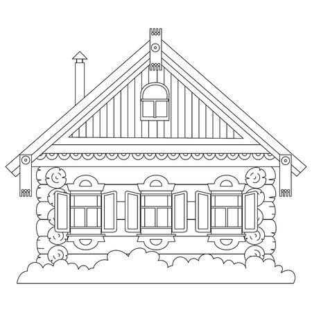 Hutte en rondins de fées russes. Vieille maison en bois.
