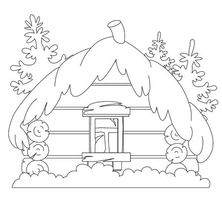 Russian fairy log hut. Old wooden house. Illustration