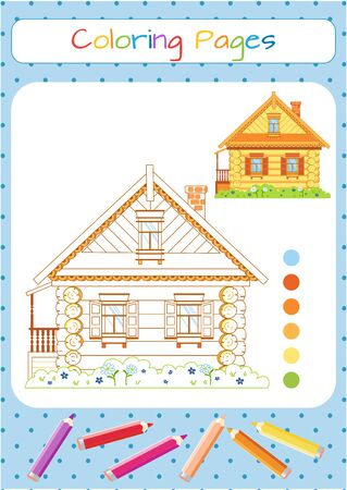 Russian fabulous wooden house. Coloring book. Educational game for children. Cartoon vector illustration
