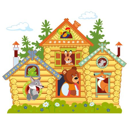 Russian fairy log hut. Old wooden house. Frog, cock, hare, wolf, bear, fox, mouse
